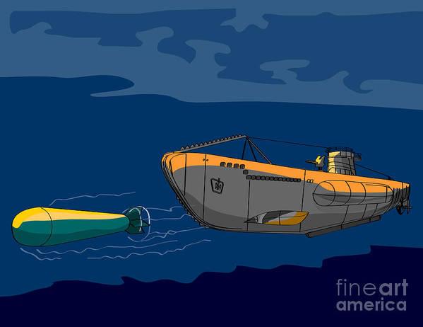 Illustration Poster featuring the digital art Submarine Boat Retro by Aloysius Patrimonio