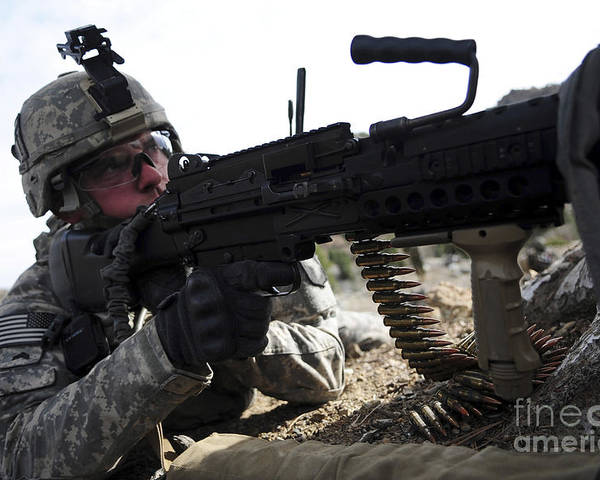 Military Poster featuring the photograph U.s. Army Soldier Provides Security by Stocktrek Images