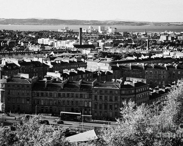 Calton Poster featuring the photograph View Of Edinburgh New Town Skyline Towards The Docks At Leith And Firth Of Forth From Calton Hill Ed by Joe Fox