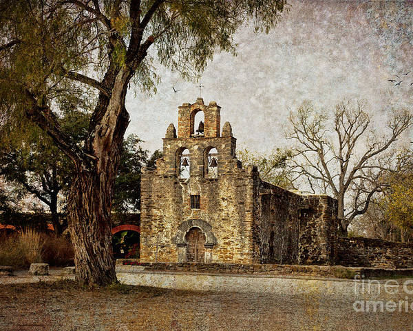 Mission Poster featuring the photograph Mission Espada by Iris Greenwell