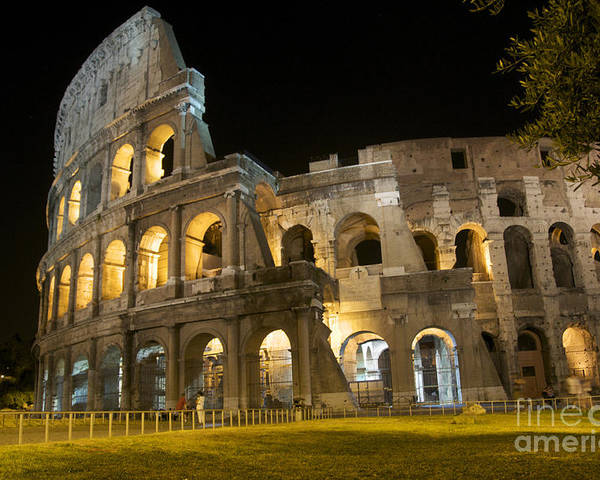 Ancient Rome Poster featuring the photograph Coliseum Illuminated At Night. Rome by Bernard Jaubert