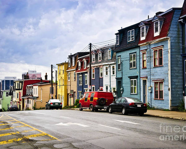 Street Poster featuring the photograph Colorful Houses In St. John's Newfoundland by Elena Elisseeva