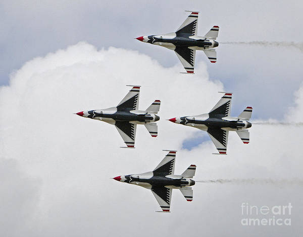Vehicles Poster featuring the photograph F-16 Thunderbirds by Dennis Hammer