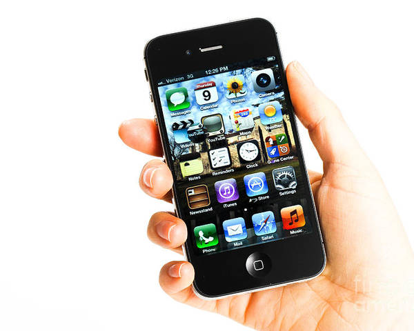 App Poster featuring the photograph Hand Holding An Iphone by Photo Researchers