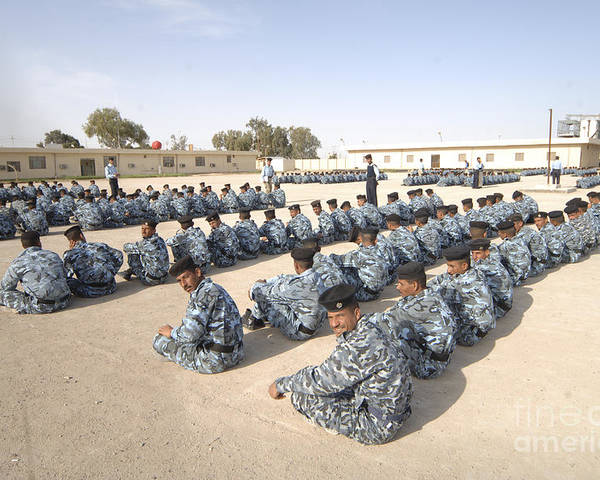 Bootcamp Poster featuring the photograph Iraqi Police Cadets Being Trained by Andrew Chittock