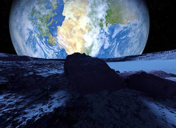 Approaching Poster featuring the photograph Near-earth Asteroid, Artwork by Detlev Van Ravenswaay