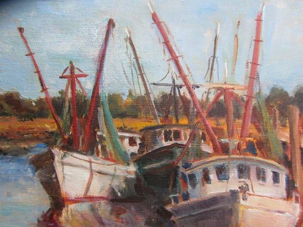 Shrimp Boats At Tidal Creek Poster featuring the painting 3 Shrimpers At Dock by Albert Fendig