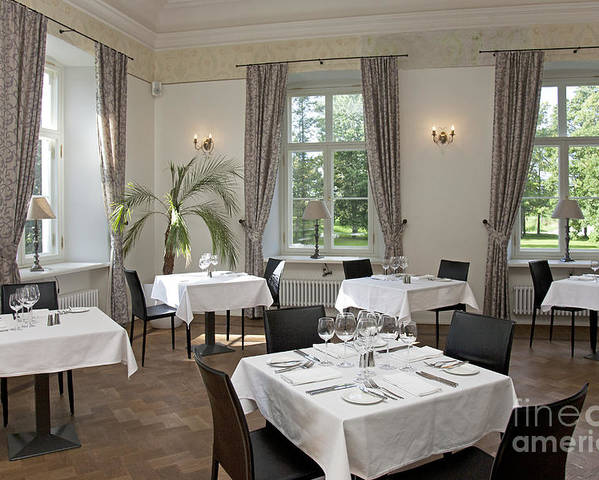 Chairs Poster featuring the photograph Upscale Hotel Dining Room by Jaak Nilson