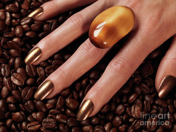 Coffee Poster featuring the photograph Woman Hands In Coffee Beans by Oleksiy Maksymenko