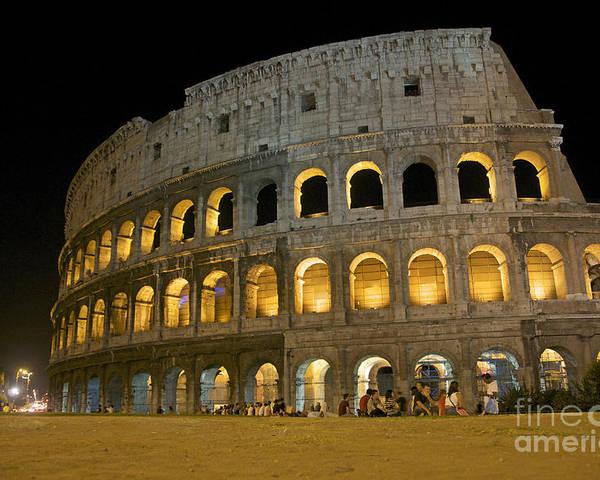 Ancient Rome Poster featuring the photograph Coliseum Illuminated At Night. Rome by Bernard Jaubert