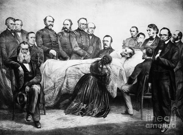 1865 Poster featuring the photograph Death Of Lincoln, 1865 by Granger