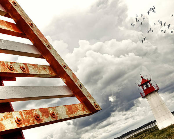Warning Sign Poster featuring the photograph elbow - Sylt by Joana Kruse