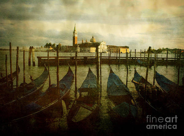 Aged Poster featuring the photograph Gondolas. Venice by Bernard Jaubert
