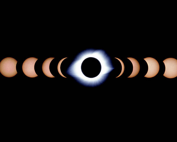 Eclipse Poster featuring the photograph Timelapse Image Of A Total Solar Eclipse by Dr Fred Espenak