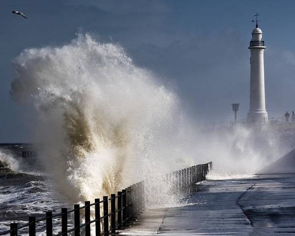 Building Exterior Poster featuring the photograph Waves Crashing By Lighthouse At by John Short
