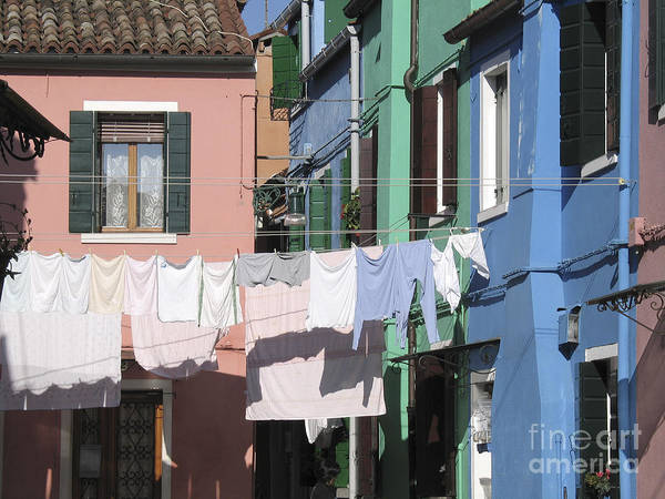 Linge Sechant Poster featuring the photograph Burano.venice by Bernard Jaubert