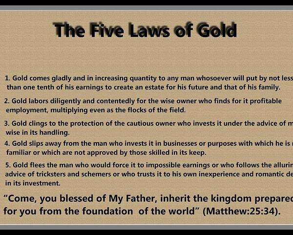 5 Laws Of Gold Poster featuring the digital art 5 Laws Of Gold by Ricky Jarnagin