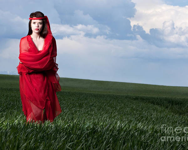 Woman Poster featuring the photograph Woman In Red Series by Cindy Singleton
