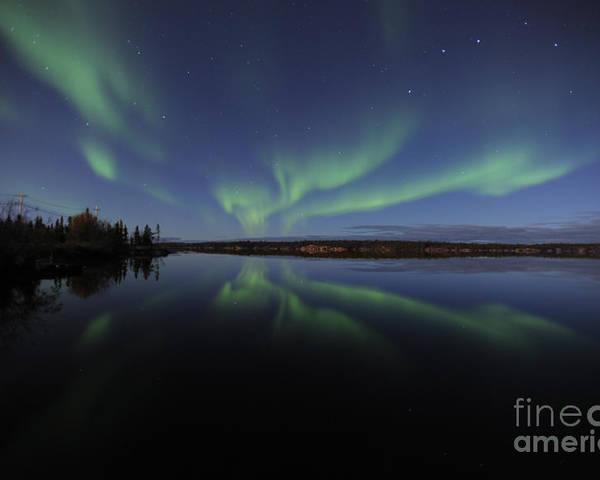 Yellowknife Poster featuring the photograph Aurora Borealis Over Long Lake by Jiri Hermann
