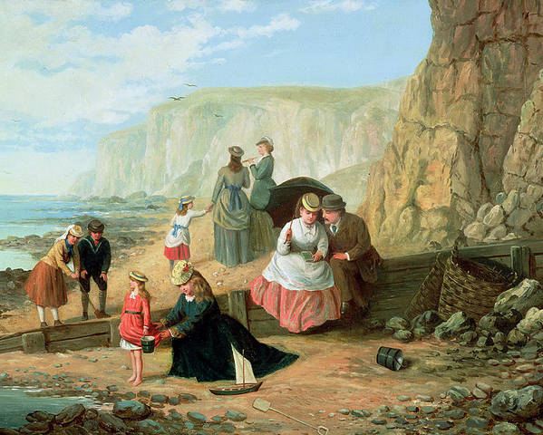 Cliff; Seashore; Cliffs; Summer; Holiday; Family; Lovers; Couple; Children; Spade; Toy; Boat; Sea; Sailor; Suit; Strolling; Pastime; Bucket; Playing; Digging; Telescope; Book; Parasol; Umbrella; Sunshade; Basket; Rocks; Sand Poster featuring the painting A Day At The Seaside by William Scott