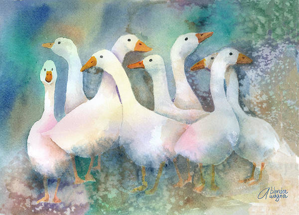 Goose Poster featuring the painting A Disorderly Group Of Geese by Arline Wagner