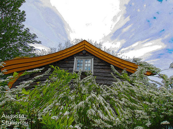 Augusta Stylianou Poster featuring the digital art A Flowery House In Norway by Augusta Stylianou