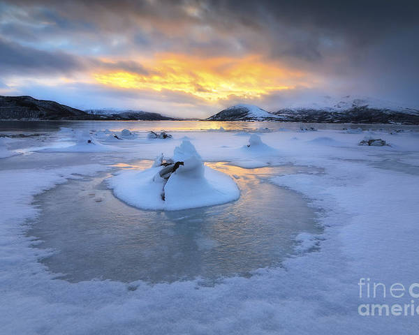 Evenskjer Poster featuring the photograph A Frozen Fjord That Is Part by Arild Heitmann