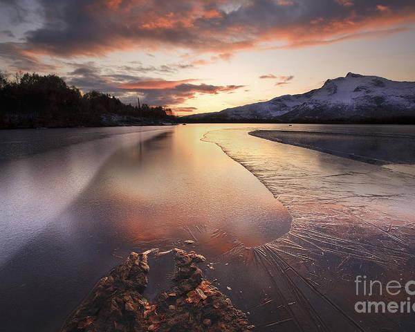 Ice Poster featuring the photograph A Frozen Straumen Lake On Tjeldoya by Arild Heitmann