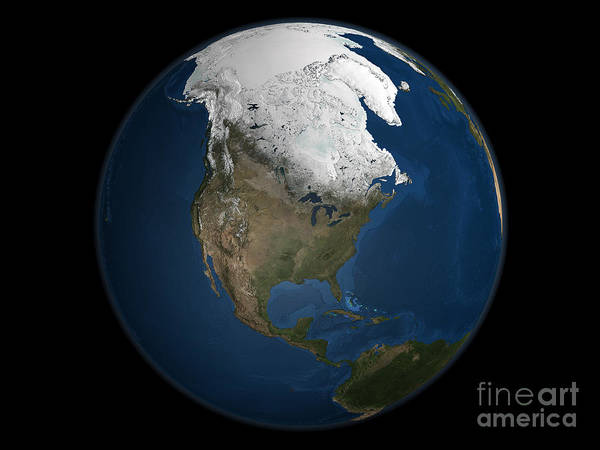 Arctic Poster featuring the photograph A Global View Over North America by Stocktrek Images