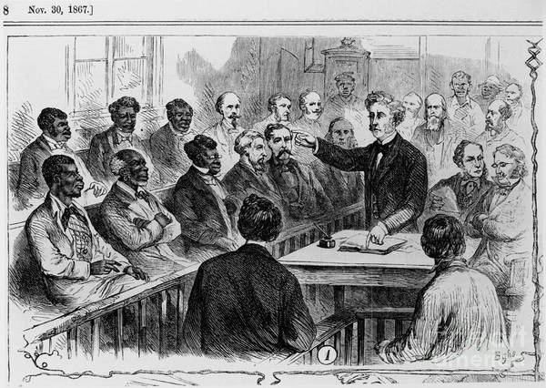 Jury Poster featuring the photograph A Jury Of Whites And Blacks by Photo Researchers