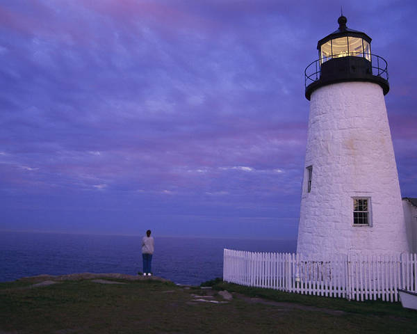 North America Poster featuring the photograph A Lighthouse Visitor Enjoys A Twilight by Stephen St. John
