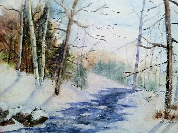 Landscape Poster featuring the painting A Lovely Winter's Day by Polly Barrett