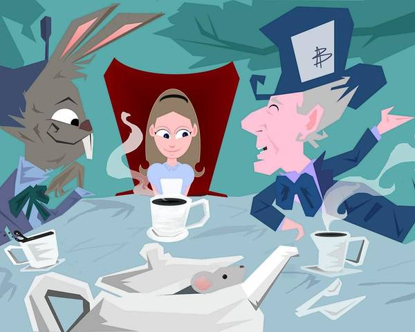 Alice In Wonderalnd~a Mad Tea Party Mad Hatter March Hare White Rabbit Lewis Caroll Fantasy Childrens Books Fairy Tales Doormouse Tea Raven Mad Tea Cups Tea Pot Unbirthday Chesire Cat Poster featuring the digital art 'a Mad Tea Party' by Bryan Rhoads