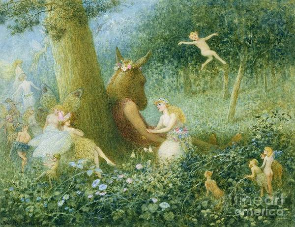 A Midsummer Night's Dream Poster featuring the painting A Midsummer Night's Dream by HT Green