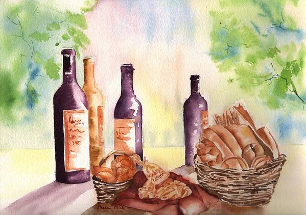A Nice Bread & Wine Selection Poster featuring the painting A Nice Bread And Wine Selection by Sharon Mick