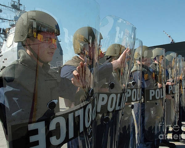 Horizontal Poster featuring the photograph A Riot Control Team Braces by Stocktrek Images