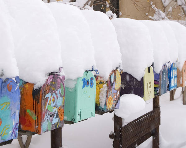 American Southwest Poster featuring the photograph A Row Of Mailboxes In Winter by Ralph Lee Hopkins