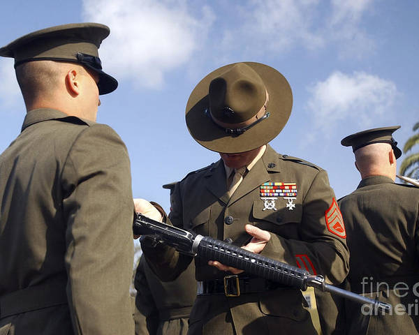 7.62mm Poster featuring the photograph A Senior Drill Instructor Inspects by Stocktrek Images