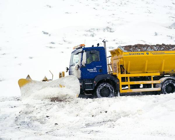 Snow Plough Poster featuring the photograph A Snow Plough Clearing A Road by Duncan Shaw