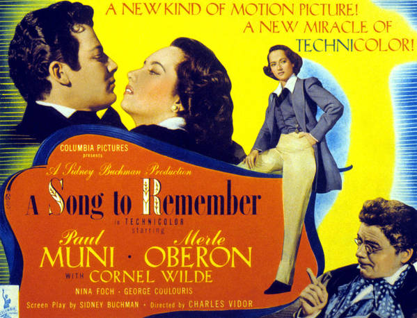 1940s Movies Poster featuring the photograph A Song To Remember, Cornel Wilde, Merle by Everett