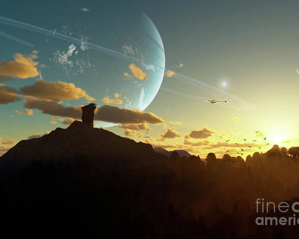 Artwork Poster featuring the digital art A Sunset On A Forested Moon Which by Brian Christensen