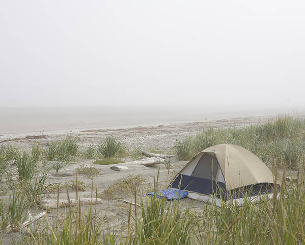 Queen Charlotte Islands Poster featuring the photograph A Tent Sits In The Dunes By The Beach by Taylor S. Kennedy