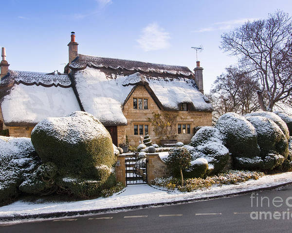 Britain Poster featuring the photograph A Thatched Cottage In The Cotswolds by Andrew Michael