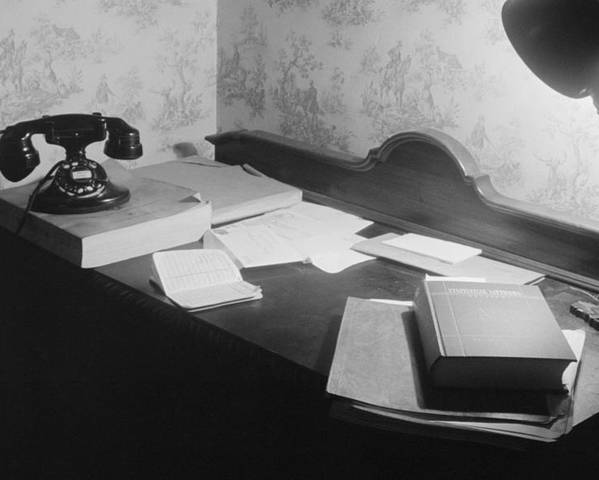 History Poster featuring the photograph A Us Government Clerks Home Office Desk by Everett
