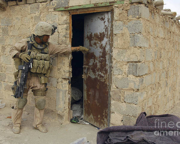Operation Iraqi Freedom Poster featuring the photograph A U.s. Marine Searching by Stocktrek Images