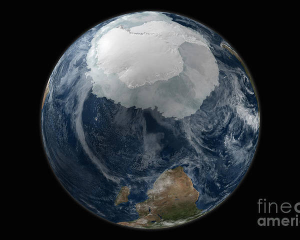 Africa Poster featuring the photograph A View Of The Earth With The Full by Stocktrek Images