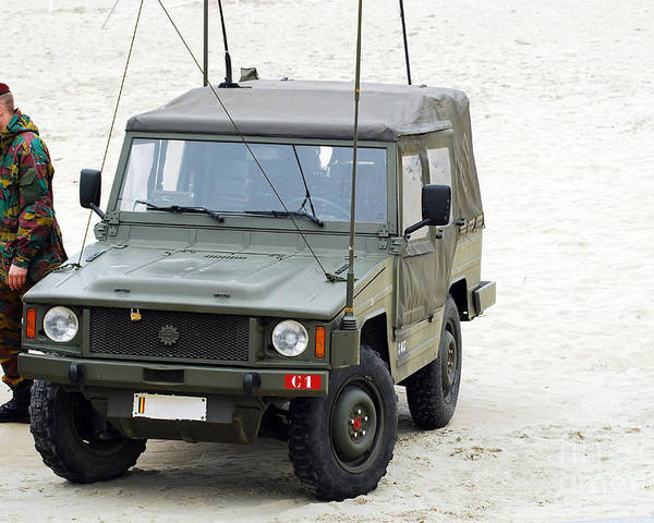 Military Poster featuring the photograph A Vw Iltis Jeep Of A Unit Of Belgian by Luc De Jaeger