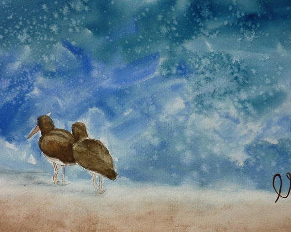 Oystercatchers Poster featuring the painting A Walk On The Beach by Estephy Sabin Figueroa