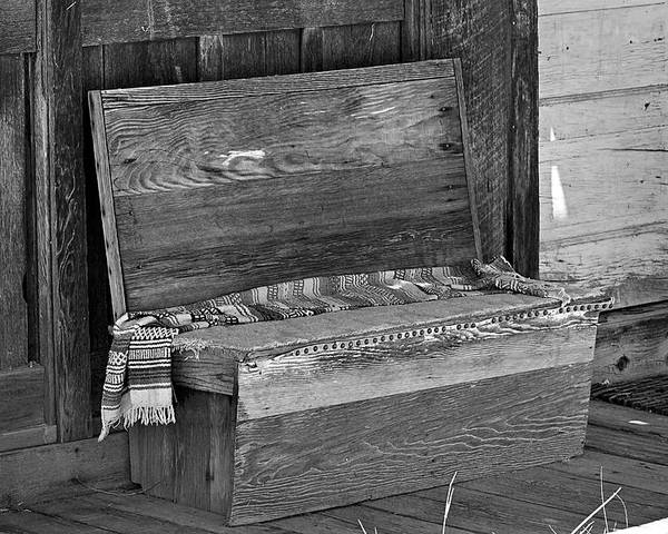 Bench Poster featuring the photograph A Weathered Bench Black And White by Phyllis Denton