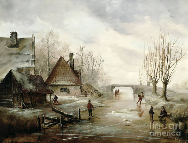 A Winter Landscape With Figures Skating In The Foreground Poster featuring the painting A Winter Landscape With Figures Skating by Dutch School